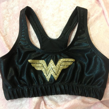 Cheer Sports Bra /Custom Glitter Flake Superhero by KrisKrossBows