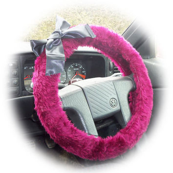 fluffy fuzzy faux fur Burgundy red car steering wheel cover with Black satin bow