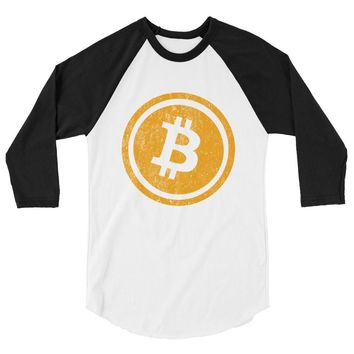 Bitcoin Logo (Distressed) 3/4 sleeve raglan shirt