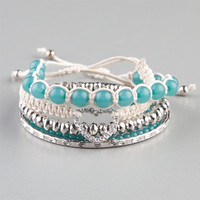 Full Tilt 5 Piece Marble Bead/Heart Cord Bracelts Teal Blue One Size For Women 22083124601
