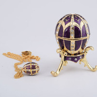 Purple Faberge Style Egg with an Egg Pendant Inside Decorated Swarovski Crystals Enamel Paint