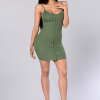 Snap Me Up Dress - Olive