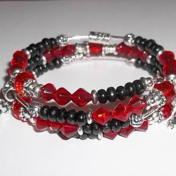 Skulls & Roses July Ruby Red Crystal Birthstone and Black Wooden Hand Crafted Wrap Bracelet