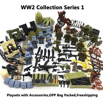 WW2 Military DIY Toys Set,Army Soldiers,SWAT,CS,Policemen,Special Troops w/ Tank,Machine Guns,Building Blocks Bricks Collection