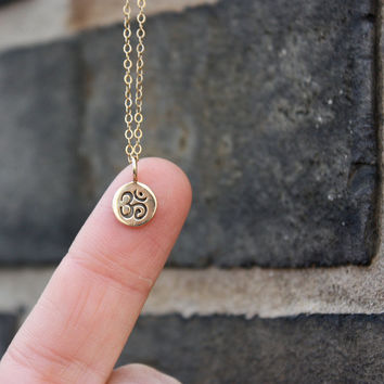 Tiny Om Necklace - Gold Om Charm . Yoga Jewelry . Tiny Charm Necklace . Spiritual Jewelry . Cute Yoga Necklace . Gift for Her