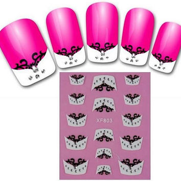 French Tip Manicure Nail Stickers || Nail Art Design Decals || Black Lace and Gems