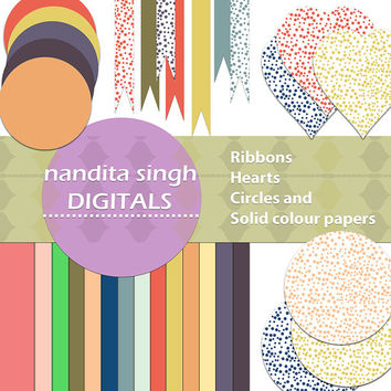 Instant download Dotted and solid coloured Hearts,Circles,Ribbons,Pastels,Scrapbooking suplies,Collage kit,Printable, PNG Commercial