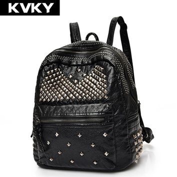 KVKY Brand Fashion Soft PU Leather Backpacks Rivet Satchel Shoulder Bags Rucksack Casual Travel School Bags for Teenagers