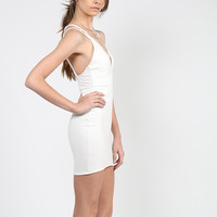 Double Strap Bodycon Dress - Ivory