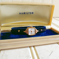 Vintage Hamilton Ladies 10k Gold Watch - All Original with Celluloid Case - Women's Timepiece Jewelry