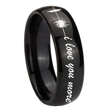10MM Classic Dome Sound Wave i love you more more Shiny Black Tungsten Carbide Men's Ring