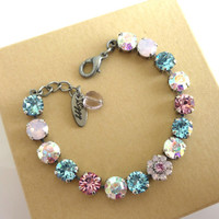 "Swarovski crystal tennis bracelet, 8mm ""Simply Pastels"", pinks, blues, Feminine Siggy bling,"