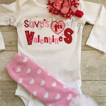 Baby girl First Valentine's Day Shirt -- Valentine's Outfit --Valentine's Shirt -- 1st Valentine's Girls Shirt -- Valentine's Bow - You pick