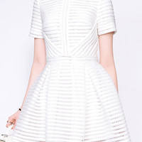 White Striped Short Sleeve High Waist Mini Skater Dress