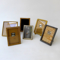 Set of six 1940s 1950's shabby chic vintage brass metal photo frames