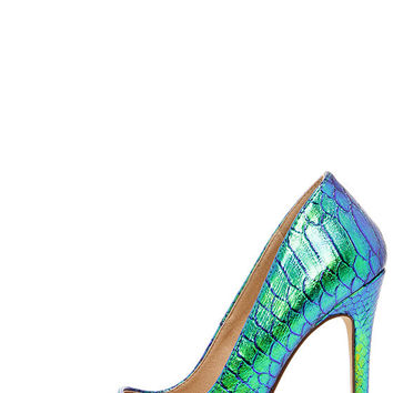 Ladies First Green Hologram Pointed Pumps
