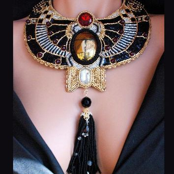 Metropolis   Bead Embroidered Golden Scarab Necklace Statement Steampunk Collar Necklace Art Deco Revival With Tassel Jewelry