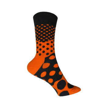 Divided Dot Crew Socks in Orange and Black