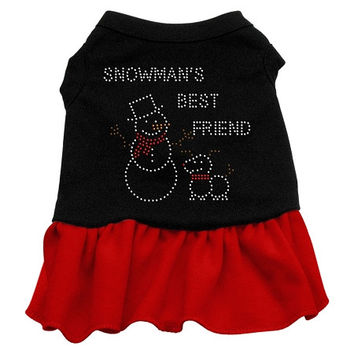 Snowman's Best Friend Rhinestone Dog Dress - Black with Red/XX Large