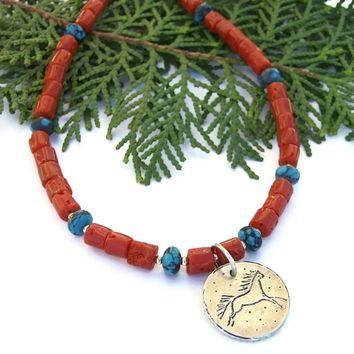 Sterling Horse Pendant Necklace, Red Coral, Turquoise, Handmade Artisan Jewelry