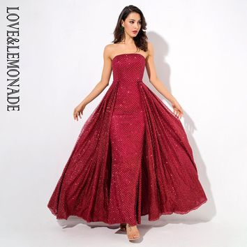 RED Strapless two-pieces Slim Floor Length Maxi Dress