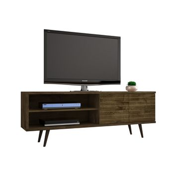 "62.99"" Mid Century - Modern TV Stand w/ 3 Shelves & 2 Doors w/ Solid Wood Legs-Rustic Brown"
