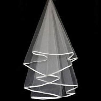 Single Layer Wedding Bridal Veil with Pencil Edge without Comb