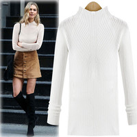 Fashion solid color high-necked knit shirts