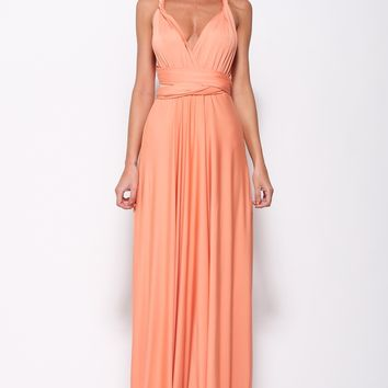 Drinking Vino Maxi Dress Peach