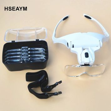 HSEAYM 9892B2  Head Wearing Magnifier Hand Free With 2LED Glasses Lenses Magnifier Magnifying Glass Loupe Telescope Binoculars