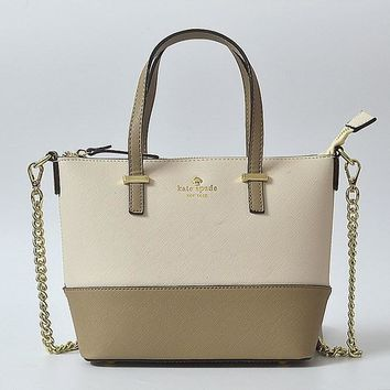 hot sale kate spade new york women fashion shopping pu tote handbag shoulder bag color off white khaki