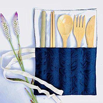 Bamboo Utensils - Cutlery Set | Reusable Flatware Organizer | Plastic Free Wrapped Kit | For Gifts, Travel, Outdoor Camping, Office lunch box case | Zero Waste Wrap Holder (Dark Blue)