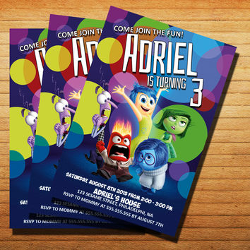 Inside Out Birthday Invitation Cards 4x6, 5x7, Customized