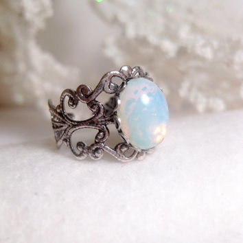 White Blue Fire Opal Ring Filigree Silver Adjustable Band