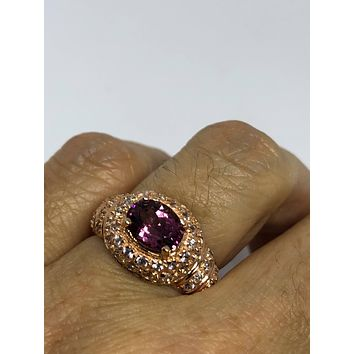 Vintage Bohemian Rhodolite Garnet white sapphire  925 Sterling Silver Rose Gold Rhodium Finish Ring