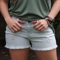 Articles of Society Distressed Denim Shorts, Stripes