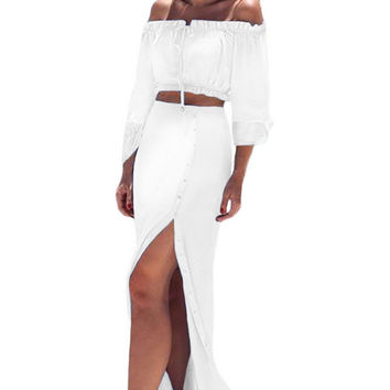 White Off Shoulder Crop Top Button Down Maxi Skirt Set