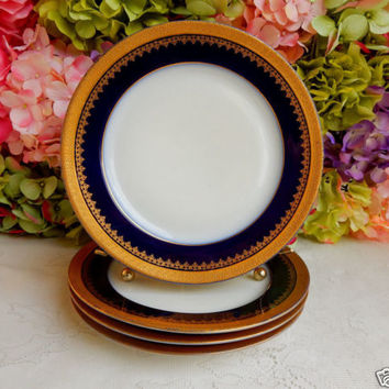 4 Antique T&V Limoges Porcelain Luncheon Plates ~ Cobalt ~ Gold Encrusted