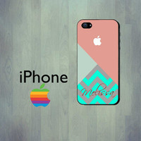 Personalized iPhone Case - Geometric Coral Chevron Mint Green iPhone 4 Case or iPhone 5 Case