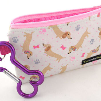 Dog Clean-Up Pouch - 'Pink Polka Dot Wiener Dogs' - With Clip to Attach to Your Leash & Free Earth Friendly Poop Bags