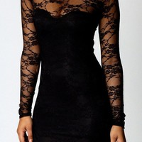 Dress-Black Floral Lace