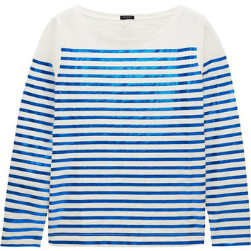 J.Crew - Boathouse metallic striped slub cotton-jersey top