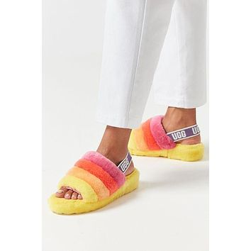 Hight Quality UGG Fashion Slippers Warm and fluffy New Women's Fashion Fluff Yeah Slipper Slide Pink
