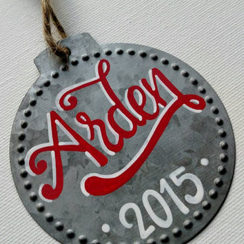 Personalized metal Christmas ornament, hand lettered ornament,  metal ornament, customizable metal ornament, personalization.