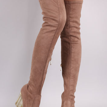 Suede Chunky Lucite Heeled Over-The-Knee Boots