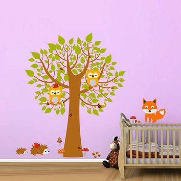 woodland animals wall decals for Nursery/owls wall decals/tree wall decals wall decals for Nursery/ kids wall decal kcik1750