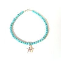 Sterling Silver Star Charm Bracelet, Turquoise Gemstone Bracelet, Real Turquoise, Cyber Monday Etsy, Black Friday UK