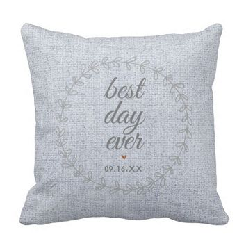 Faux Burlap Wedding Keepsake Monogram Throw Pillow