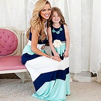 Stylish Matching Mother Daughter Ankle-Length Dresses