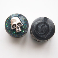 "Glamsquared *Designer Plugs*Jewelry*Accessories* — Marble-ized Galaxy Skull 19mm 3/4"" Reversible Steel Plugs"